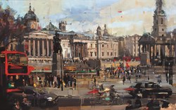 Trafalgar Square by Christian Hook - Limited Edition Canvas on Board sized 28x17 inches. Available from Whitewall Galleries